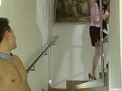 Lusty next-door cookie in pink stockings giving legjob once to hawt quickie