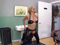 Blonde dominatrix Krissy Lynn in a black fetish outfit bows over in front of Deviant Kade and makes him take up with the tongue her asshole. Darksome haired guy licks her asshole without taking a break