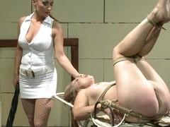 Katy Borman tied a hawt babe on an old metal table