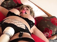 Unfaithful british milf lady sonia flashes her massive billibongs