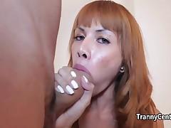Oriental redhead tranny fucks big cock