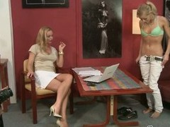 Sylvia Saint blonde babe hot exposed on a chair