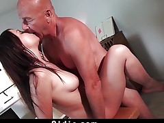 Teen fucks grandpapa doggy missionary ends with facial