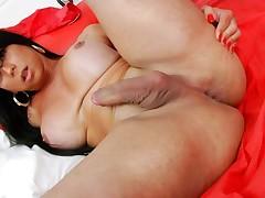 Big boobies tranny masturbates her cock