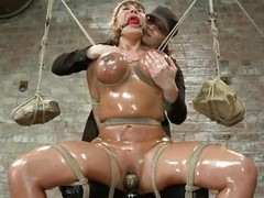 This is a meticulous sight! Busty milf Ava is oiled up and tied hard. Her big melons are squeezed with rope and within reach dramatize expunge deracinate of dramatize expunge rope two big and enormous rocks are routine as weights to keep it tight. Then dr