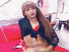 Latin babe Shemale Babe Masturbating On Webcam