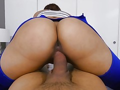 Kitty Catherine riding a thick knob