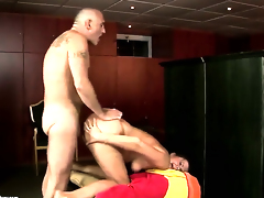 Brunette with juicy hooters gags on guys sturdy meat pole