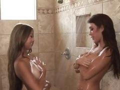 Lesbian Babes Kina Kai Capri Cavalli Soapy Shower Time