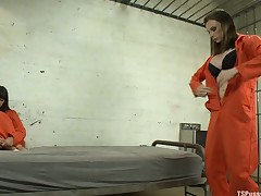 Weekend Jail Time in an All Girl Cell and Her Bunk Mate has a Cock