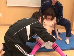 Young Japanese skank pleasuring knob with her feet