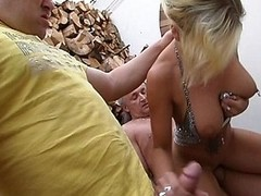 Whorish german blonde takes overhead two guys of different ages