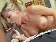 Blonde Brianna Brooks with big tits and bald vagina has interracial sex with dark skinned man. He licks her pink sweet vagina before she takes his thick dick in her mouth. They have a nice time together