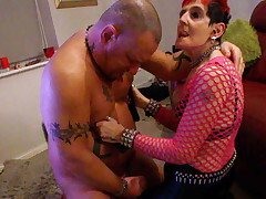 Pierced Teats British Redhead in PVC Pants and Boots