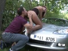 A Fortunate Stranger shagging deep on car bonnet