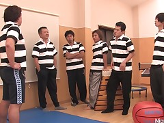Schoolgirl gets her wet crack pounded by jocks in the gym