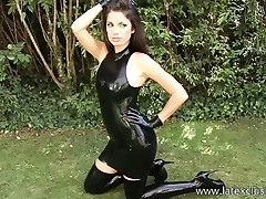 Outdoor latex fetish and shiny rubber